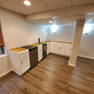 basement flooring white cabinets