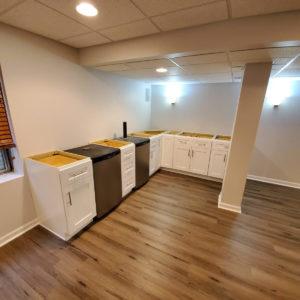 basement flooring white cabinets
