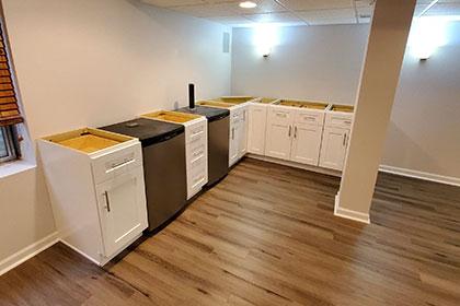 basement flooring white cabinets small