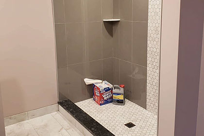 modern large shower small