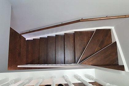 refinishing stairs dark stain small