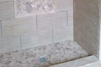 Crystal Lake modern shower horizontal tiles