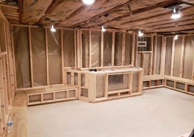 basement-framing-remodeling-fireplace