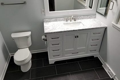 black floor tiles Bathroom renovation Palatine