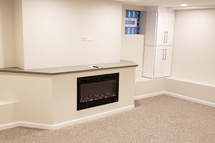 modern basement fireplace Chicagoland