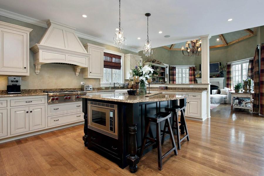 modern white kitchen with marble kitchen counter
